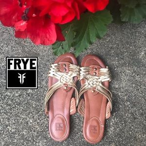 Frye Woven Gold & Brown Leather Slide Sandals